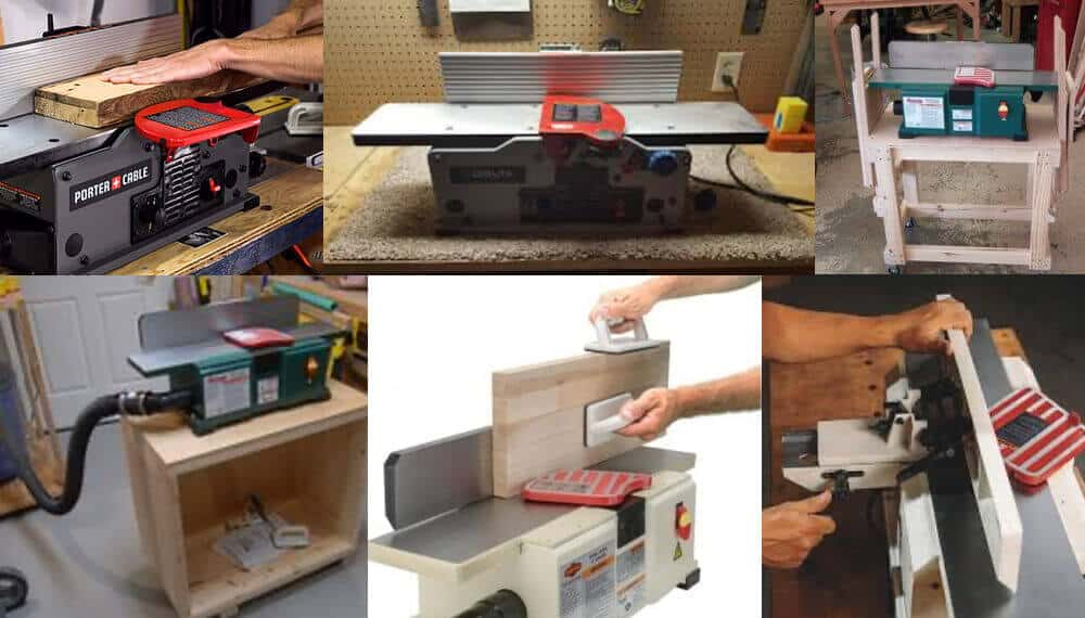 Different types and models of small benchtop wood jointers.
