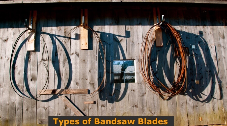 Different sizes and types of used bandsaw blades.