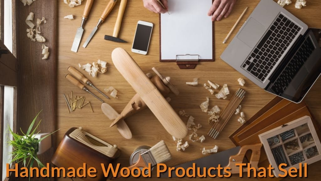 Carpenter list down the possible top selling handmade wood products on notepad.
