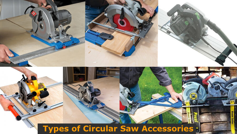 Circular saw accessories for different types of cuts.