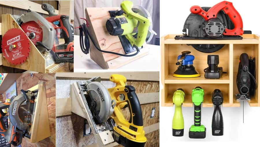 Different ideas and ways of storage your circular saw properly.