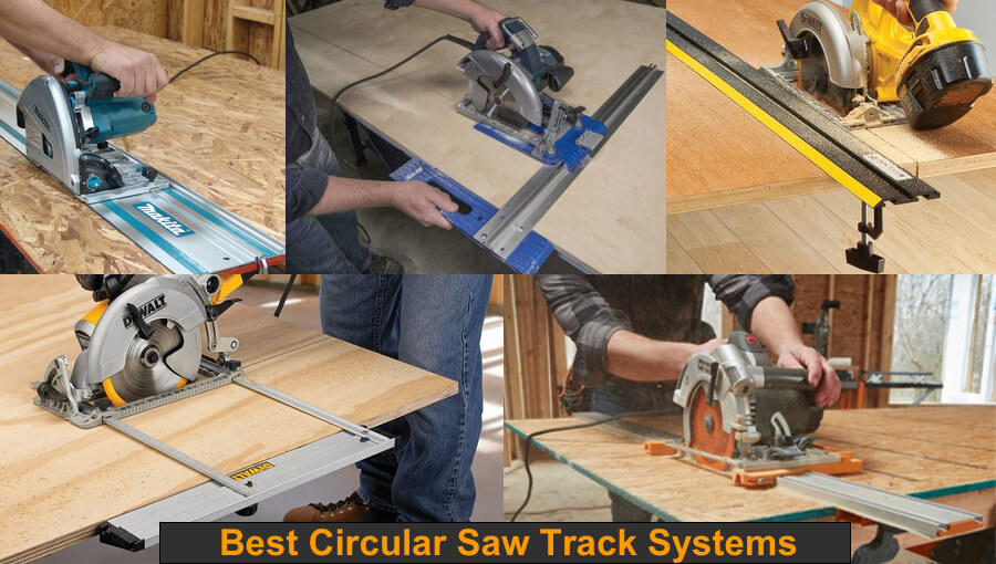 Circular saw track rail guides for cutting long wood boards.