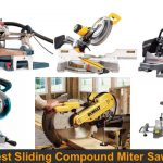 Different brands and models of compound sliding miter saws.