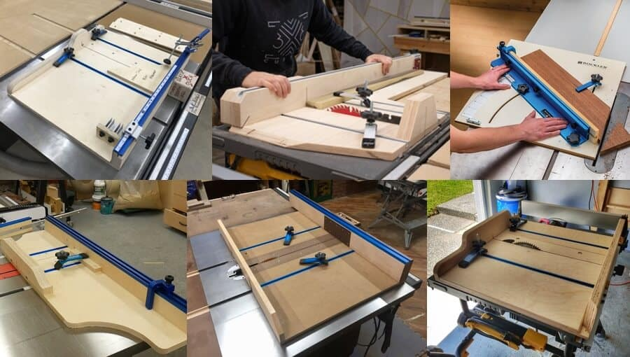 Different sizes and lengths of cross cut sleds.