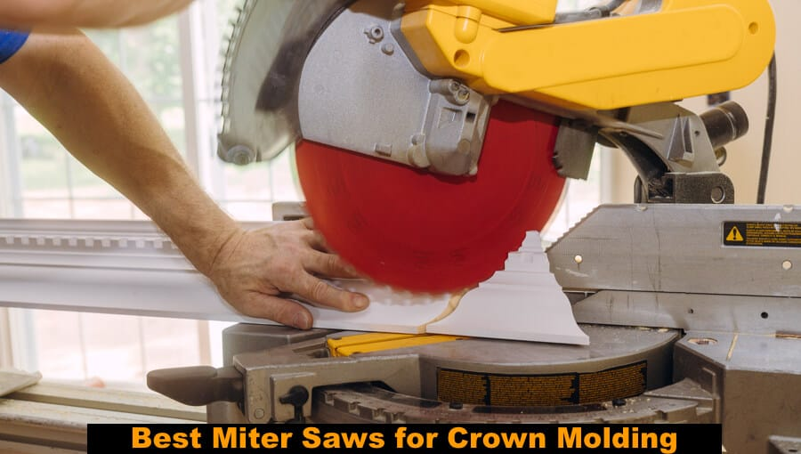 Carpenter cutting crown molding with the precision miter saw.