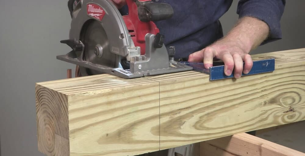 Cutting thick and big wood with circular saw.