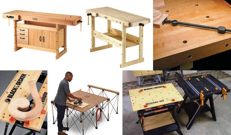 Different types and sizes of dog holes workbench tops.