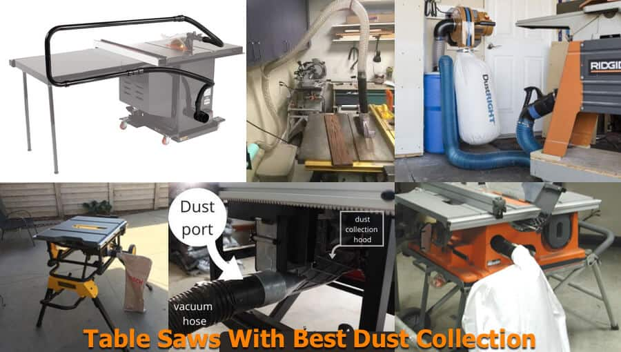 Dust collection ports on table saws.
