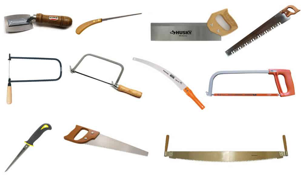 Different types and sizes of hand saw tools.