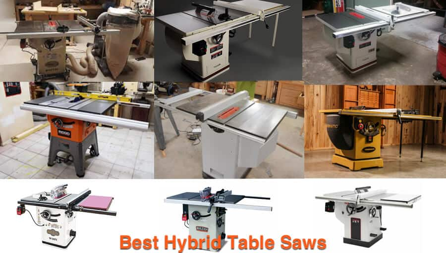 Different sizes and models of hybrid table saws.