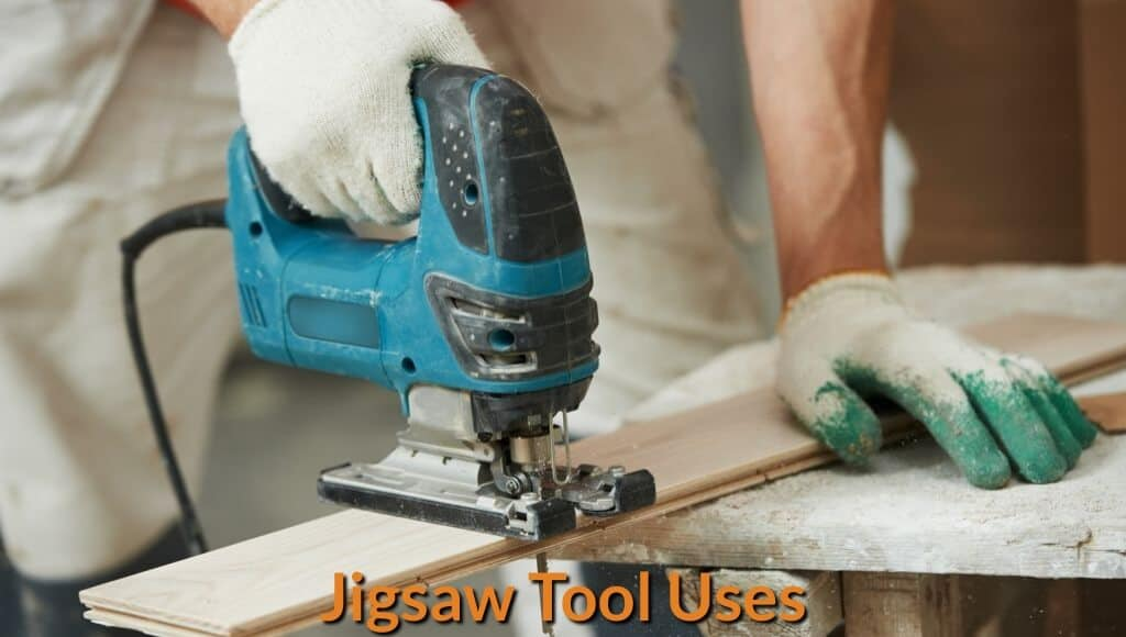 Cutting a wood board with the jigsaw power tool.