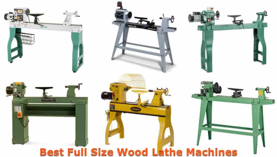 Different types and model of top full-sized commercial wood lathe machines.