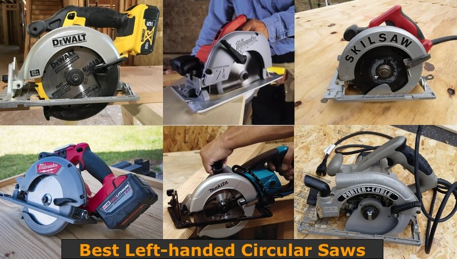 Different brands and styles of circular saws for left-handed woodworkers.
