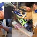 Methods of making pocket holes on wood with and without jig.