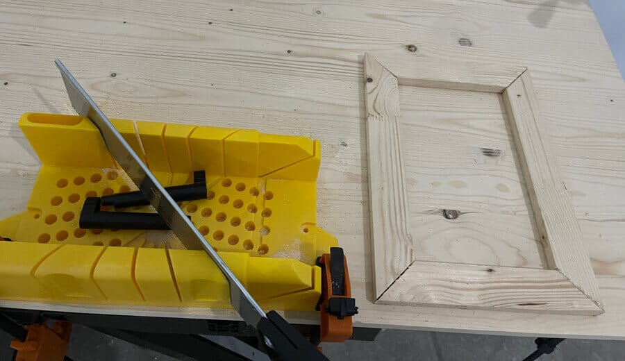 Angle cut with miter box.