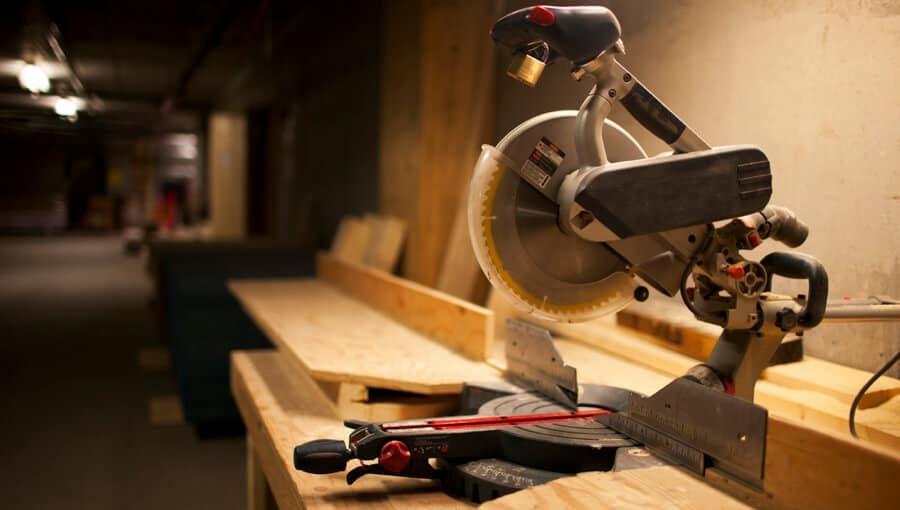 """Miter saw with dull 10"""" blade."""