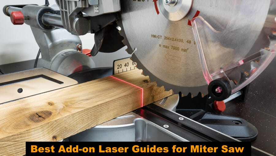 Turning on the laser guide when cutting wood on miter saw.