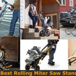 Carrying miter saw to the job site using the rolling wheel stand.