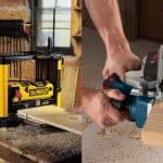 Thickness planer and hand planer.