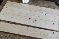 Pocket hole joints on table top boards.