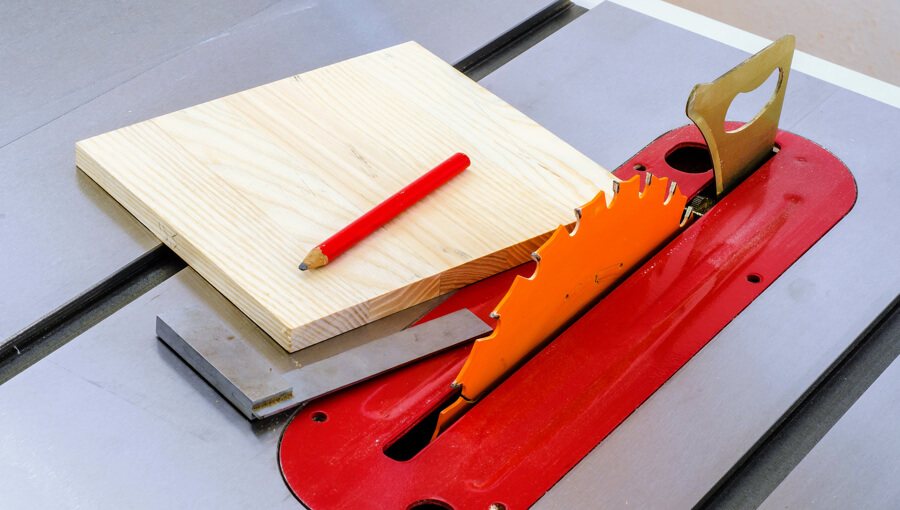 Guide on using table saw to square a wood board.