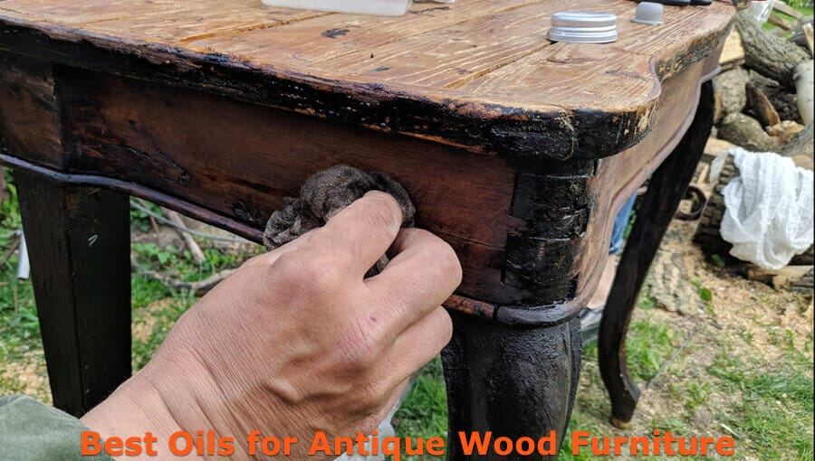 Staining the antique wood furniture with oil finishes.