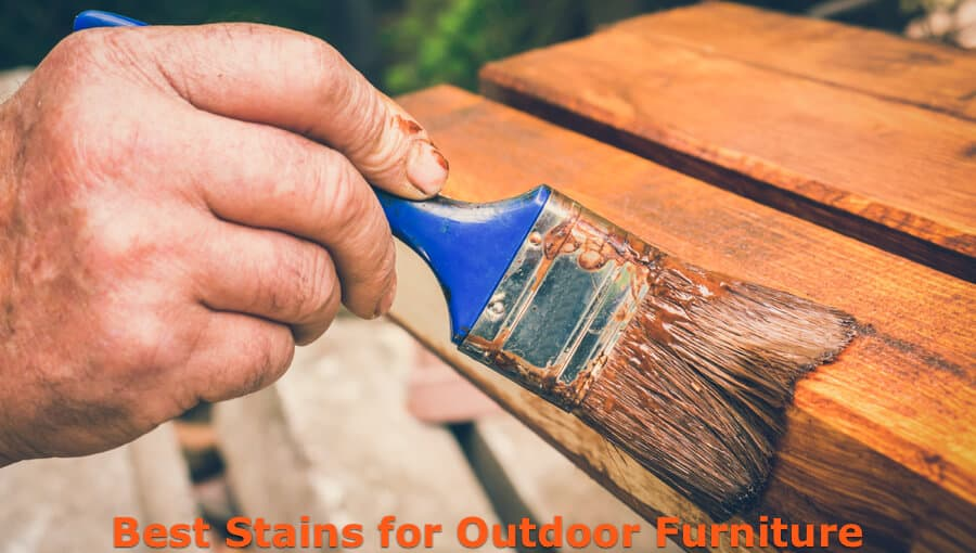 Staining outdoor wood furniture.