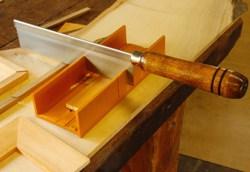 Steel miter box.