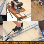 Using straight edge clamp guide to make long cut on board.