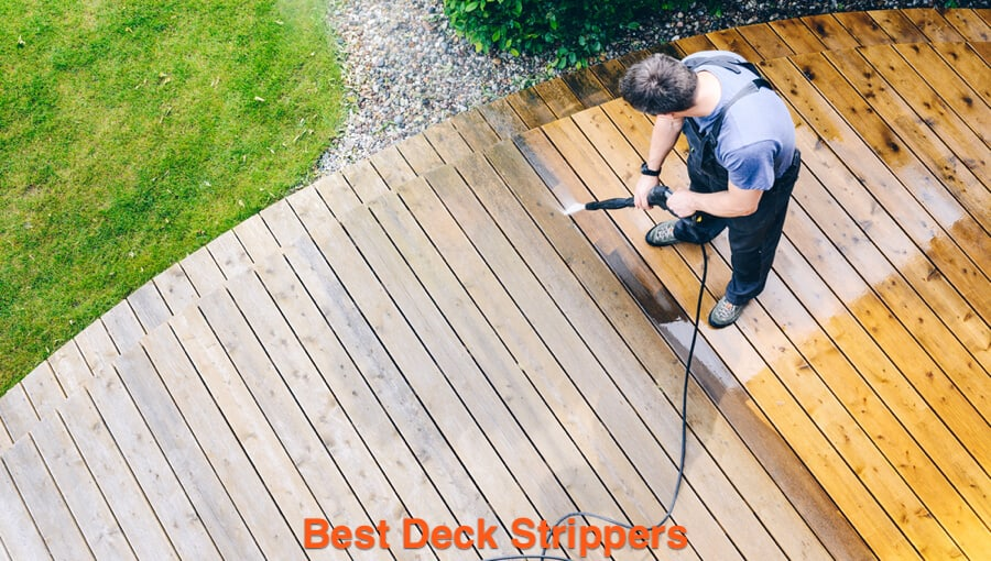 Washing the deck after soaking the deck wood with the deck stripper and cleaner.