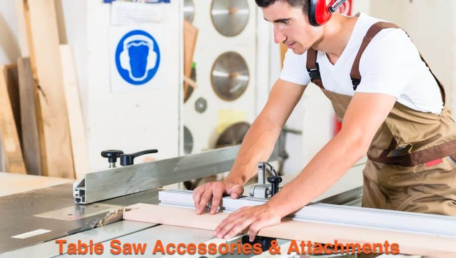 Carpenter use different types of table saw attachments and jigs to make perfect wood cuts.