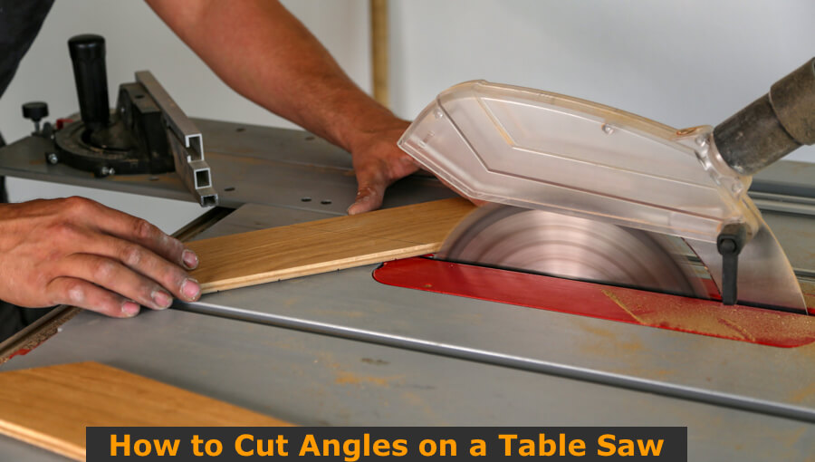 Sawing and cutting 45 degree angle with table saw.