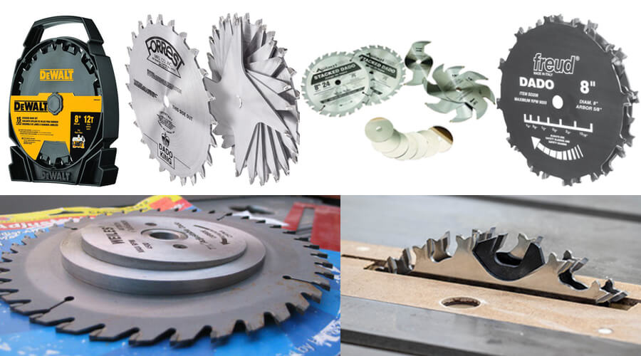 Types of dado cut blades that are suitable to use on table saw.