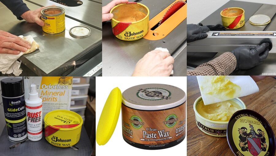 Using paste wax for waxing table saw.