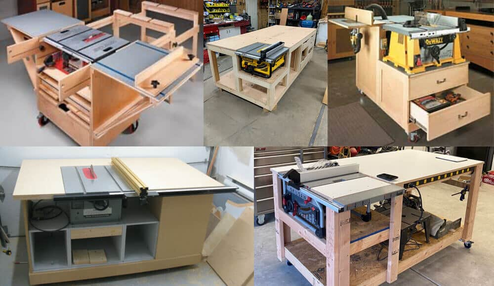 Different styles and ideas for diy table saw workstation.