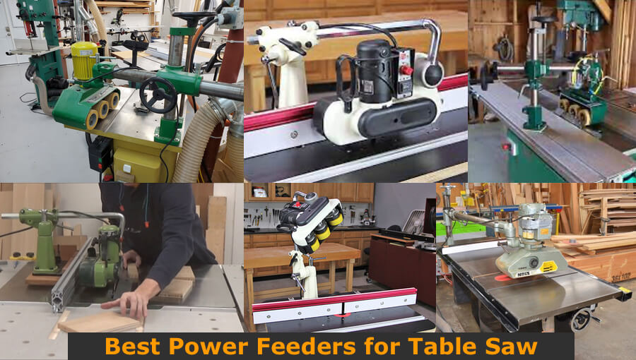 Different models of and sizes of table saw's power feeders.