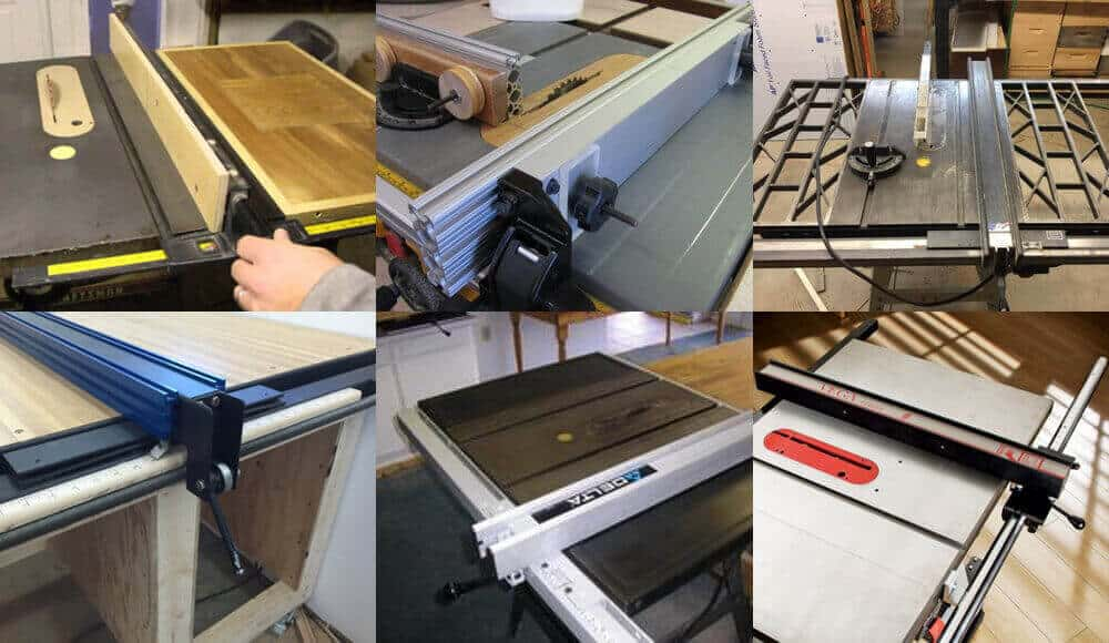 Different sizes and models of third-party table saw fences.