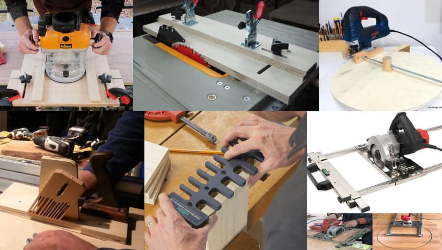 Different types of simple woodworking jigs.