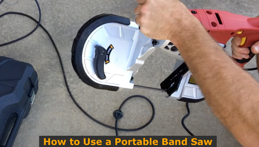 Guide on how to use a portable handheld bandsaw to cut wood and metal.