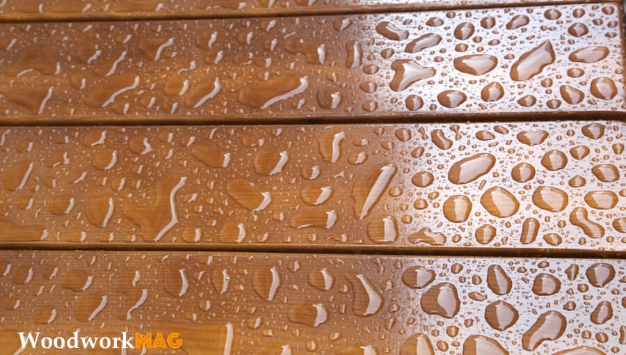 Waterproofing and weather-proofing wood deck.