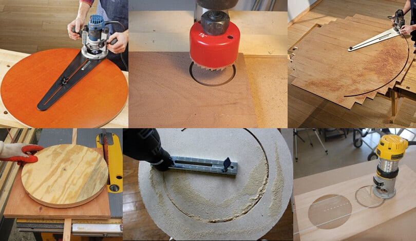 Different ways of cutting circle on wood board.