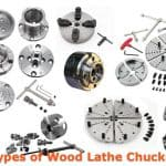 Different types and models of wood lathe chucks.