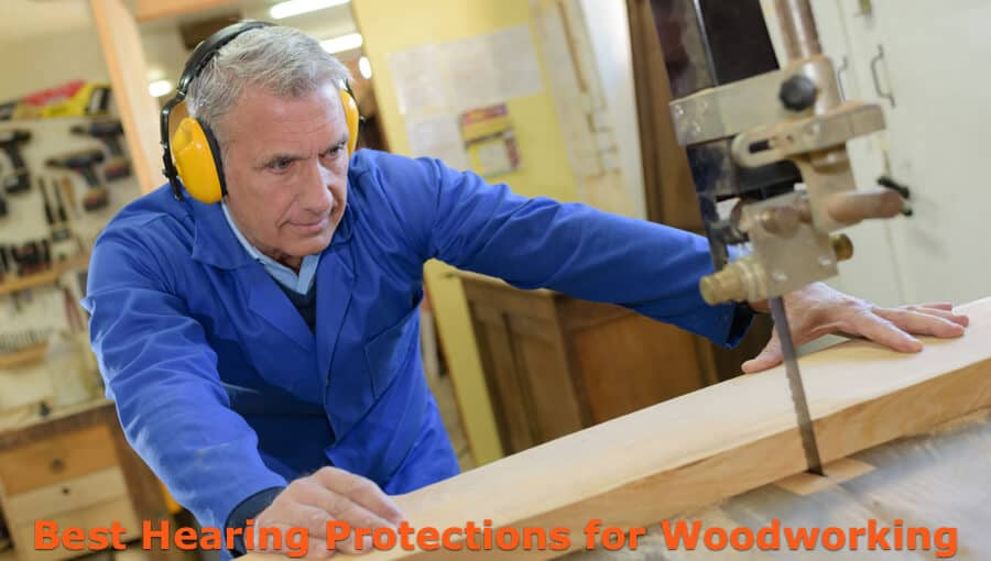 Woodworker wears ear pad to reduce noise level in workshop.
