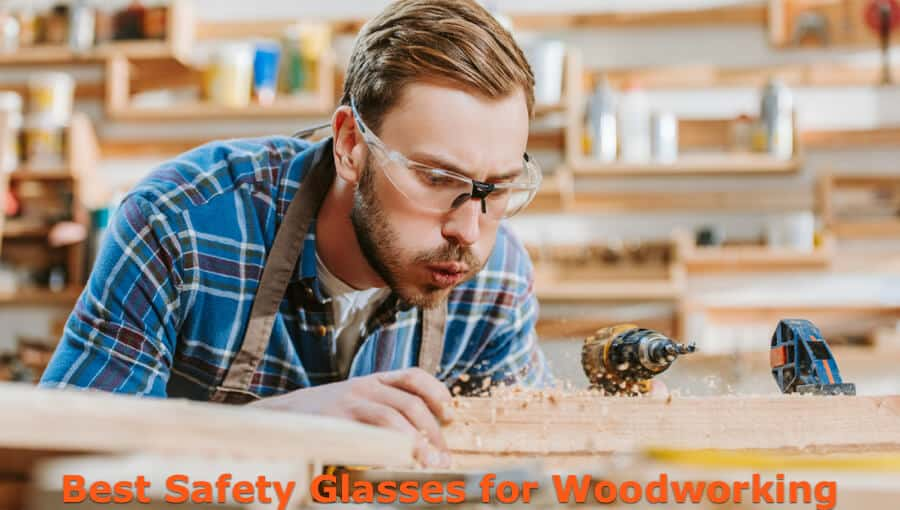 Woodworker wear protection glasses when drilling holes on wood.