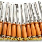 Various types of woodworking chisels.