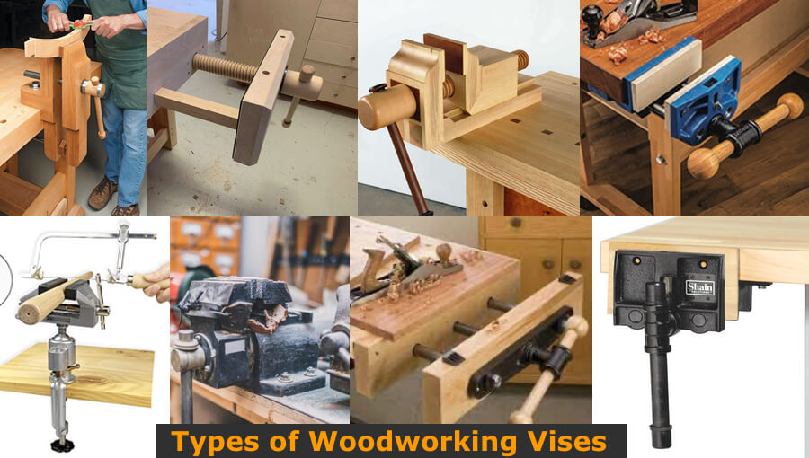 Different types of woodworking vises in the workshop.