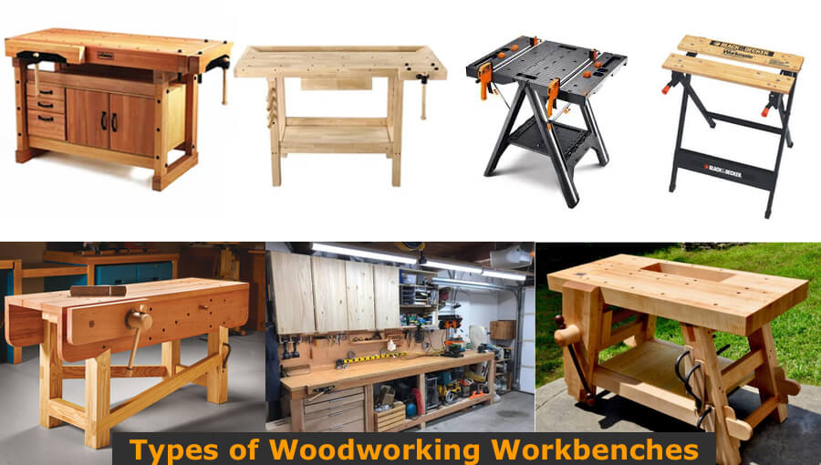 Different types and models of woodworking workbenches.