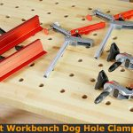 Woodworking clamps for dog hole workbench.