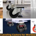 Installing leveling casters on the workbench legs.