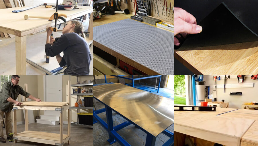 Different types of materials for workbench table top.